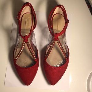 SIZE 7.5 ZARA RED FLATS WITH STUDDED STRAPS